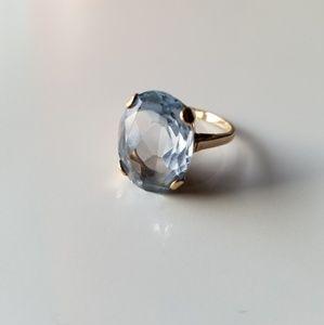 Vintage large aquamarine gold ring